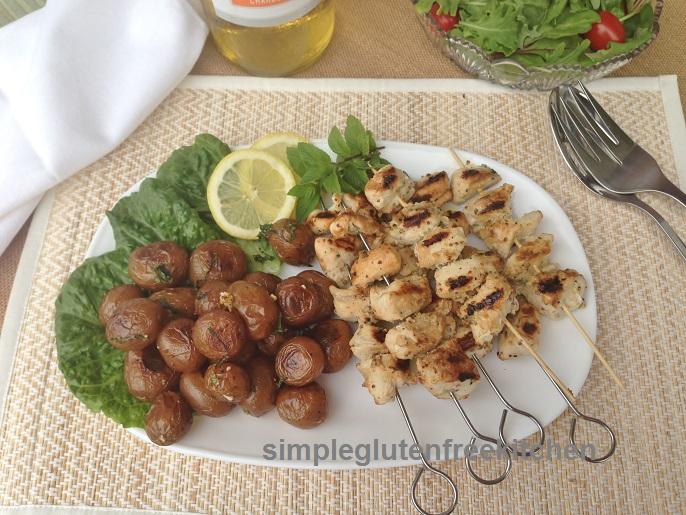 Lemon garlic chicken kebabs and roasted potaotes