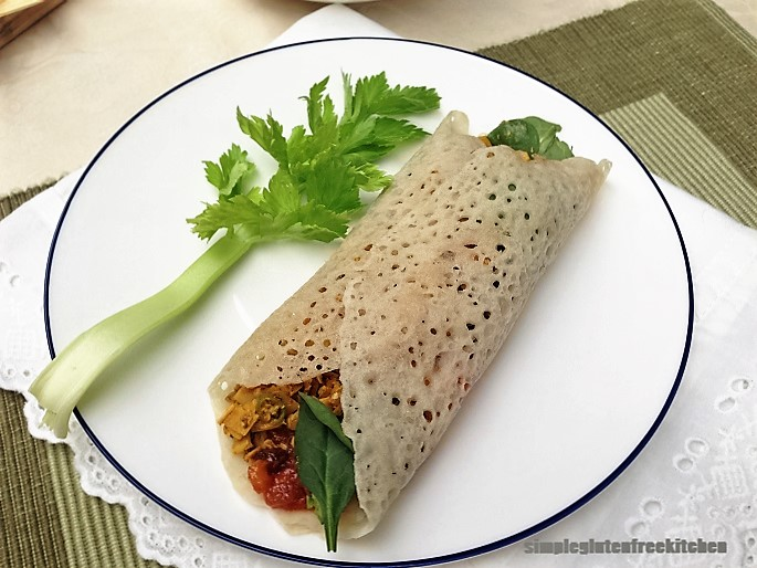 Eggless sorghum crepe with a filling of banan blossomepe with filling of your choice