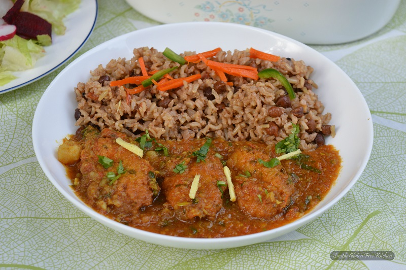Cabbage Kofta Curry with Kala chana pulao